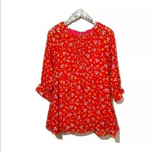 Free People Red Floral Mini Tunic Dress Size S/M